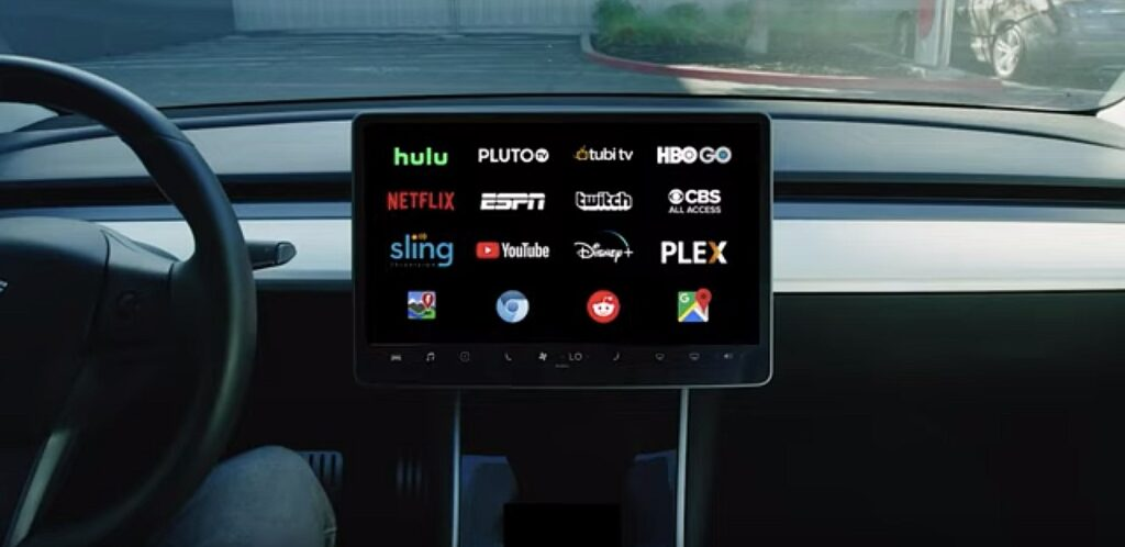 Full screen streaming activated on a Tesla Model 3