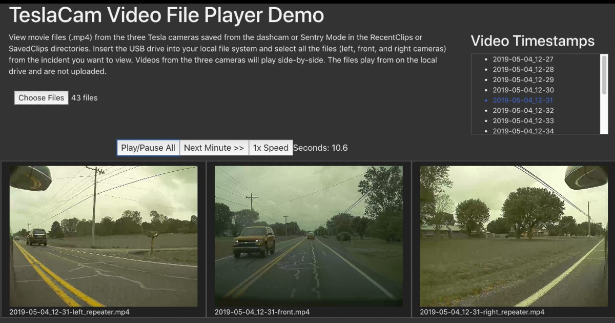 Tesla Cam Video File Player Demo showing how to watch all videos from the Tesla Sentry Mode at the same time